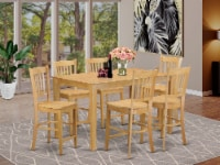 East West Furniture Capri 7-piece Wood Pub Table and Dining Chair Set in Oak - 1
