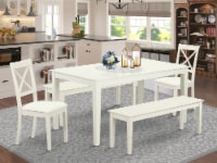 5 Piece Table set for 6-Table & 2 Faux Leather Chairs & 2 Benches, Linen White - 1