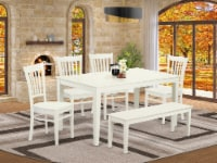 CAGR6-LWH-W 6 Piece dining for 6-Table & 4 Chairs & One Benches in Linen White - 1
