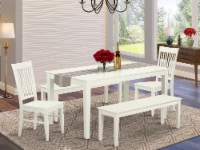 5 Piece dining for 6-Table and 2 Chairs and 2 Benches in Linen White - 1