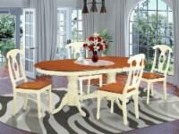 East West Furniture Plainville 5-piece Wood Kitchen Set in Buttermilk/Cherry - 1