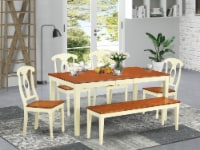 NIKE6-WHI-W 6-Pc Dining room set - Table and 4 Dining Chairs and Bench - 1