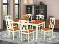 NIKE7-WHI-W 7 PC Dining room sets -Kitchen dinette Table and 6 Kitchen Chairs - 1