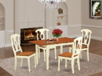 NOKE5-WHI-W 5 Pc Table and chair set for 4-Table and 4 Dining Chairs - 1