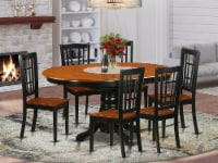 KENI7-BCH-W 7 PC Dining set-Dining Table and 6 Wooden Kitchen Chairs - 1