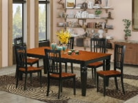 East West Furniture Logan 7-piece Table and Dining Chair Set in Black/Cherry - 1