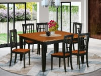 East West Furniture Parfait 7-piece Dining Set with Wood Chairs in Black/Cherry - 1