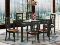 East West Furniture Dudley 7-piece Wood Table and Dining Chair Set in Black - 1