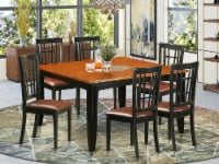 East West Furniture Parfait 7-piece Kitchen Table and Chair Set in Black/Cherry - 1