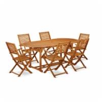 BSBS7CANA This 7 Piece Acacia Hardwood Outdoor-Furniture patio Dining Set - 1