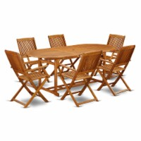 BSCM7CANA This 7 Pc Acacia Hardwood Balcony Dining Set