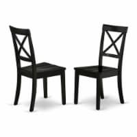 East West Furniture Boston 38  Wood Dining Chairs in Black (Set of 2) - 1
