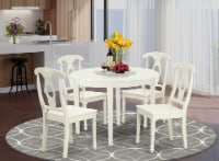 BOKE5-LWH-W 5PC Round 42 inch Table and 4 Panel Back Chairs - 1