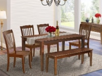 6PC Rectangular 60 inch Table and 4 vertical slatted Chairs plus 1 bench - 1