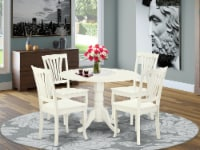 5PC Round 42   Table with Two 9  Drop Leaves & 4 vertical slatted Chairs - 1