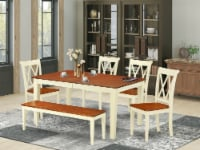 6PC 54/66 inch Table with 12 In Leaf & 4 Double X back Chairs plus 1 bench - 1