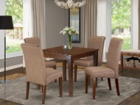 East West Furniture Oxford 5-piece Wood Dining Set in Mahogany/Brown - 1