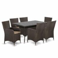 VLLU7-63S 7 pc Outdoor-Furniture Wicker Dining Set for 6 in Dark Brown Finish - 1