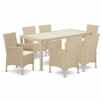 LUVL7-53V 7 pc Outdoor-Furniture Wicker Backyard Dining Set for 6 in Cream Finish