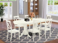 Vabo7-Lwh-W 7 Pc Dining-Room Set Table With Leaf And Six Wood Seat Dining Chairs - 1