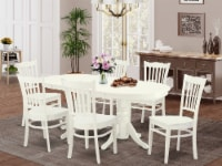 VAGR7-LWH-W 7 Pc Dining Room Set Table With Leaf And 6 Wood Seat Dining Chairs - 1
