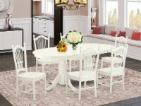 VADO7-LWH-W 7 Pc Dining-Room Set Table With Self Storing Leaf & 6 Chairs - 1