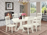 VADA7-LWH-W 7 Pc Dining-Room Set Table With Self Storing Leaf & Six Chairs - 1