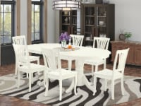 Vaav7-Lwh-W 7 Pc Dining-Room Set Dining Table With Leaf & Six Wood Seat Chairs - 1