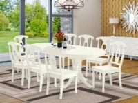 VAKE9-LWH-W 9 Pc Dining-Room Set For 8 Table With Self Storing Leaf & 8 Chairs - 1