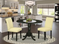3Pc Round 42  Table With Two 9-Inch Drop Leaves & 2 Parson Chair ,Color Eggnog - 1