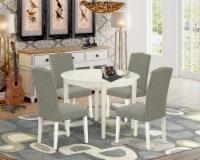5Pc Round 42  table & Four Parson Chair With Linen White Leg & Dark Shitake - 1