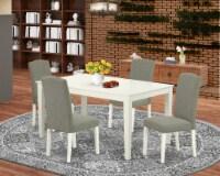 5Pc Rectangle 60  Table & 4 Parson Chair With Linen White Leg & Dark Shitake - 1