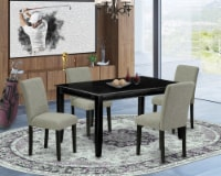 5Pc Set, A Dining Table & 4 Parson Chair With Black Leg And Linen Fabric Shitake - 1