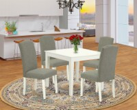 5Pc Square 36   Table & Four Parson Chair With Linen White Leg & Dark Shitake - 1