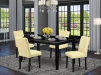 5Pc Rectangle 60 Inch Table & Four Parson Chair ,Color Eggnog - 1