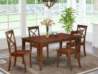 CABO5-MAH-W 5Pc Rectangular 60  Dining Room Table And 4 Wood Seat Kitchen Chairs - 1