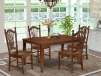 CADO5-MAH-W 5Pc Rectangular 60  Kitchen Table And Four Wood Seat Chairs - 1