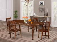 DONO5-MAH-W 5Pc 60/78 Inch Table With 18 In Self Storing & Four Wood Seat Chairs - 1