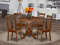 ANCA5-MAH-W 5Pc Rounded 36 Inch Dining Room Table And 4 Wood Seat Dining Chairs - 1