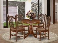 ANDO5-MAH-W 5Pc Rounded 36 Inch Kitchen Table And Four Wood Seat Dining Chairs - 1