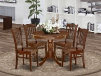 ANGR5-MAH-W 5Pc Rounded 36 Inch Kitchen Table And 4 Wood Seat Dining Chairs - 1