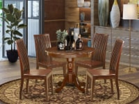 ANIP5-MAH-W 5Pc Round 36 Inch Kitchen Table And 4 Wood Seat Dining Chairs - 1