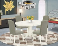 5Pc Oval 42/60  Table With 18 In Self Storing & 4 Chair With Dark Shitake - 1
