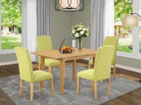 5Pc Oval 42/60  Table With 18 In Self Storing & 4 Parson Chair Limelight - 1