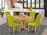 5Pc Oval 42/60  Table With 18 In Self Storing & 4 Parson Chair, Autumn Green - 1