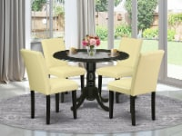 5Pc Round 42  table With Two 9  Drop Leaves & Four Parson Chair ,Color Eggnog - 1