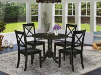 DLBO5-BLK-W 5Pc Rounded 42  Table With Two 9-Inch Drop Leaves & Four Chairs - 1