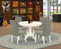 5Pc Round 42 Inch Table & Four Parson Chair With Linen White Leg & Dark Shitake - 1
