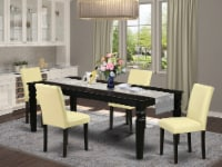 5Pc Set, A Table And 4 Parson Chair With Black Leg And Pu Leather Color Eggnog - 1