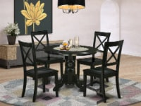 SHBO5-BLK-W 5Pc Round 42  Dining Room Table And 4 Wood Seat Kitchen Chairs - 1
